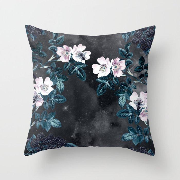 Night Garden Bees Wild Blackberry Throw Pillow