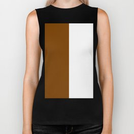 White and Chocolate Brown Vertical Halves Biker Tank