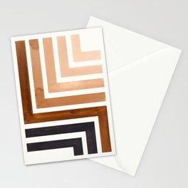 Raw Umber Mid Century Modern Watercolor Colorful Ancient Aztec Art Pattern Minimalist Geometric Patt Stationery Cards