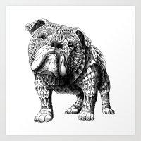 english bulldog Art Prints featuring English Bulldog by BIOWORKZ