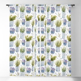 cactus in patterned pots pattern Blackout Curtain