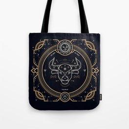Taurus Zodiac Gold White Black Background Tote Bag