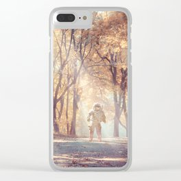Astronaut In Autumn Forest Clear iPhone Case