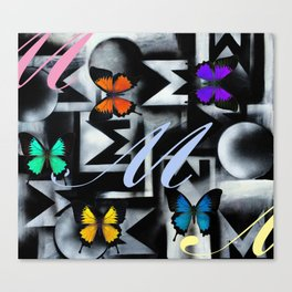 Monarch Butterfly Modern Abstract Painting Rainbow Art Canvas Print