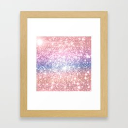 Pastel Galaxy Sparkle Stars Framed Art Print