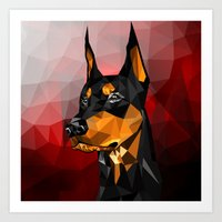 doberman Art Prints featuring Doberman by Ruveyda & Emre