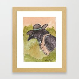 Southwestern Crow With Bolo Tie Surveys The Landscape From A Tree Framed Art Print