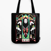 deco Tote Bags featuring Spirited Deco by Ashley Hay