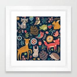 Blue Woodland Critters Pattern Framed Art Print
