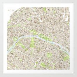 Paris SGB Watercolor Map Art Print