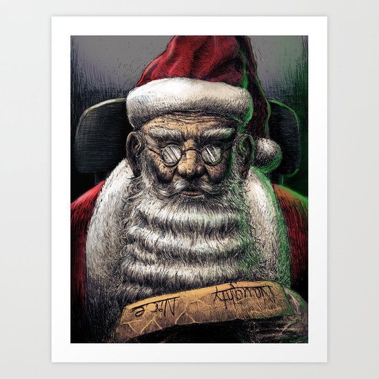 Santa Checking His List... Art Print