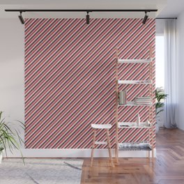 Red Inclined Stripes Wall Mural