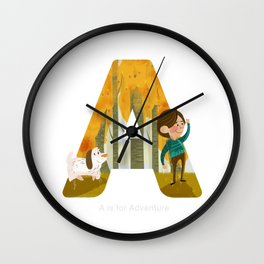 A is for Adventure Wall Clock