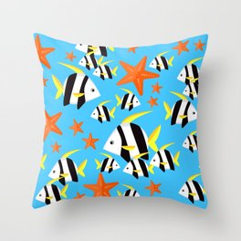 Summer Fun Pattern: Striped Fish and Starfish Pattern Throw Pillow