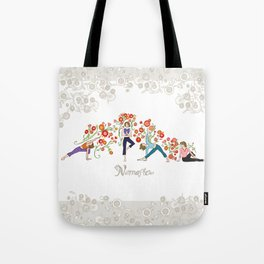 Yoga Girls_Namaste_Poses and Flowers Large scale Tote Bag