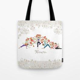 Yoga Girls_Namaste_Poses and Flowers Large scale Tote Bag