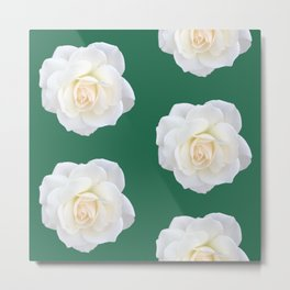 Cream Rose Polka Dot Emerald Metal Print