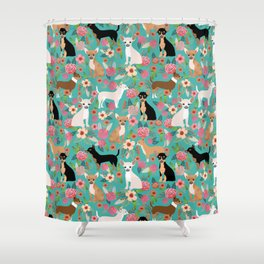 Chihuahua dog breed floral pet gifts perfect present for chihuahuas pure breed Shower Curtain