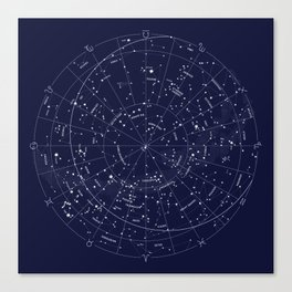 Constellation Map Indigo Canvas Print