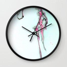 Pink Fluid Acrylic Pour Painting - Minimalist Art Wall Clock
