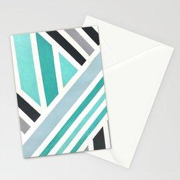 Teal Blue White Geometric Line Stripe Pattern Stationery Cards