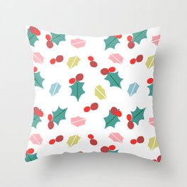 cute mistletoe white Throw Pillow