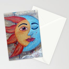 SOLUNA - Sun and Moon, mixed media art painting Stationery Cards