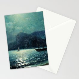 Shipping in a bay by Moonlight - Attributed to Ivan Aivazovsky Stationery Cards