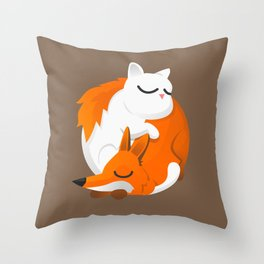 Fox and cat Throw Pillow