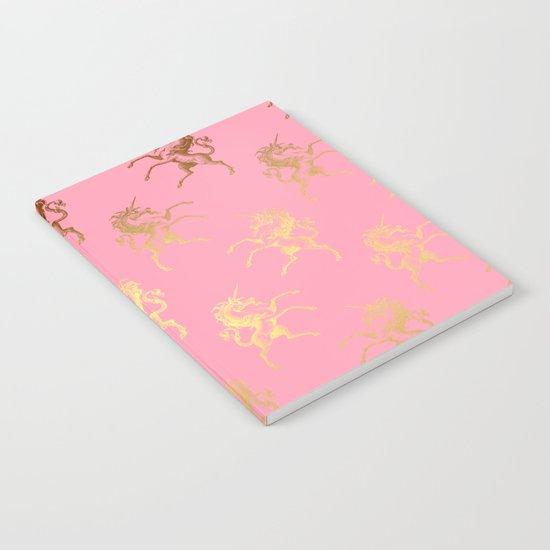 Gold elegant Unicorns on pink pattern Notebook