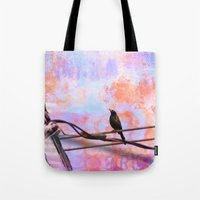 artsy Tote Bags featuring Artsy Grackle by Angelandspot