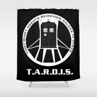 agents of shield Shower Curtains featuring Agents of TARDIS black and white Agents of Shield, Doctor Who mash up by Whimsy and Nonsense
