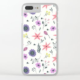 Abstract coral purple violet vector floral pattern Clear iPhone Case