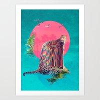 jaguar Art Prints featuring Jaguar by Ali GULEC