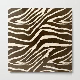 ANIMAL PRINT ZEBRA IN WINTER 2 BROWN AND BEIGE Metal Print