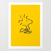 peanuts Art Prints featuring Woodstock - Peanuts by Maggie Cellucci