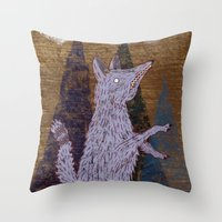 coyote Throw Pillows featuring COYOTE by Kevin Whipple