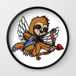 Sloth Cupid Cute Valentines Animal Wall Clock