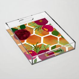 Honeycomb and Flowers Acrylic Tray