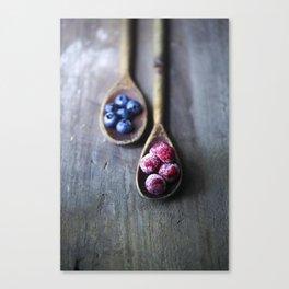 Raspberries and Blueberries Canvas Print