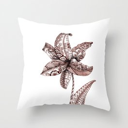 Henna Lily Throw Pillow