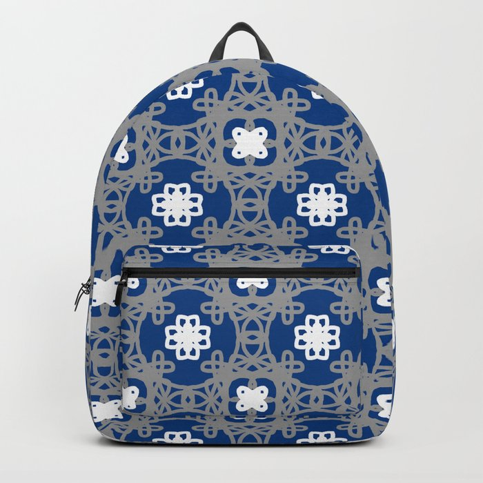 Blue white and grey square floral Backpack