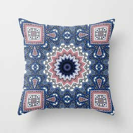 Kaleidoscope .Blue mist . Throw Pillow