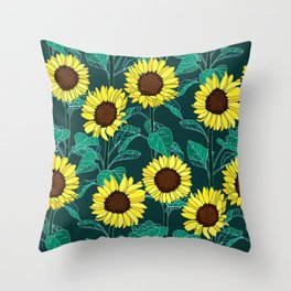 Sunny Sunflowers - Emerald Throw Pillow
