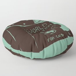 World Domination for Cats (Green) Floor Pillow