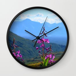 Fireweed Overlooking Mat-Su Valley, Alaska Wall Clock