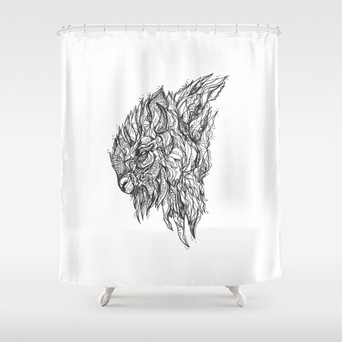 Buffalo Shower Curtain By Inkedinred