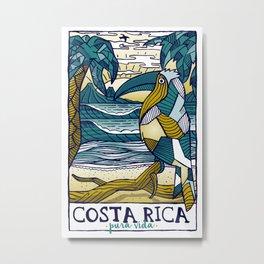 Costa Rica Polygonal Beach Print Pura Vida Metal Print