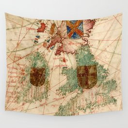 Vintage Map of The British Isles (1600) Wall Tapestry