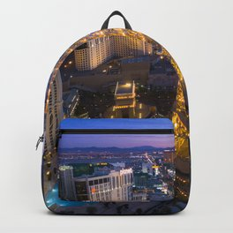 Aerial view of the Eiffel tower in Las Vegas Backpack